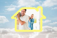 Composite image of couple carrying rolled rug after moving in a house
