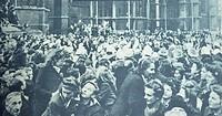 crowds celebrate liberation of strasburg, France, 1945