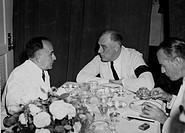 President Getulio Vargas of Brazil confers with President Roosevelt at a conference aboard a U.S. destroyer in the Potengi River harbour at Natal; dur...