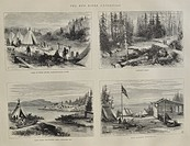 Collection of Engravings from Ontario, Canada. The collection includes: the camp of the 60th Rifles at the Kaminstiquia River, Dawson's Road, Thunder ...