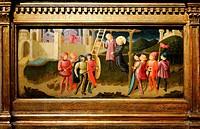 Painting depicts Saint Nicholas saving a hanged man. Painted by Zanobi Machiavelli (1418-1479) Italian painter and illuminator. Dated 15th Century