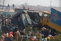 Two persons have been killed as a train derailed after being hit by a covered van near Kamalapur container terminal in Dhaka.