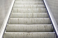 heavily used and worn escalator stairs