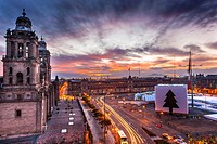 Metropolitan Cathedral and President's Palace in Zocalo, Center of Mexico City Mexico Christmas Sunrise.