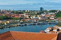 River Douro and Vila Nova de Gaia, view from Cathedral´s hill, Porto, Portugal, Europe.