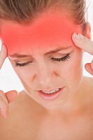 Unhappy woman with severe headache