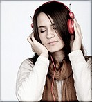 girl, listening to music with headphones