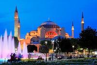 Hagia Sophia in the Evening, Istanbul, Turkey.