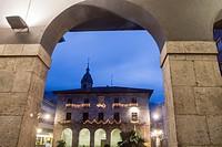 Town Hall of Azkoitia with Christmas lights, Gipuzkoa, Basque Country.