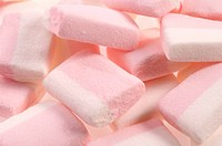 white and pink marshmallows isolated on the white background