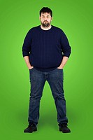 Complete body shot of a big guy looking at camera, real ordinary middle age bearded white man with weight problem in front of green screen, can be act...