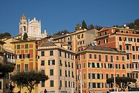 Buildings on the sea front and San Giacomo church in the background, Santa Margherita Ligure, Genova, Liguria, Italy, Europe.