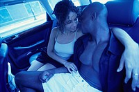 Couple Sharing Intimate Moment in Car