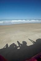 Shadow at beach, Hokianga Bay, Northland region, North Island, New Zealand