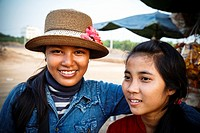 Portrait of two young women, Siem Reap, Cambodia.