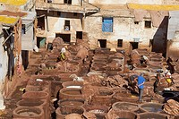 Fez, Fes, Traditional Tanneries with dying vats, The Chouwara, Chouara, Tannery, Old Town, Medina, UNESCO World Heritage Site, Fez el Bali, Morocco, M...