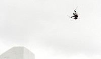 First freeskiers tried a springboard built for the Excelent Soldiers race in Destne v Orlickych horach, Czech Republic, March 5, 2015. Snow jump, whic...