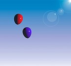 Red And Blue Balloon Floating In The Blue Sky Representing Togetherness