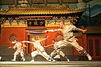 Chinese maritial arts show at Shaolin Temple, Dengfeng, Henan Province, China.