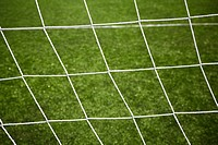 sport background, net on green grass, selective focus