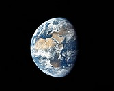 APOLLO 11: EARTH, 1969. /nEarth viewed from a distance of about 113,000 miles during the Apollo 11 mission, 17 July 1969, showing portions of Africa, ...