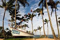 Mama's Fish House Restaurant. Ho'okipa Beach Park. Maui. Famous Mamas Fish House with palms and beach in Maui Hawaii. Definitely the best restaurant i...