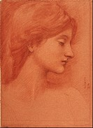 Female Head. Artist: Burne-Jones, Sir Edward Coley (1833-1898)