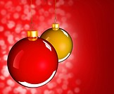 Christmas baubles balls in golden red as holidays background