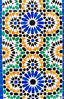 Tile decoration at Bahia Palace, Marrakech, Morocco.