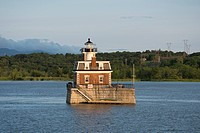 New York, Hudson River between Kingston and Troy. Historic Hudson-Athens Lighthouse, circa 1874.