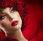 Beautiful Fashion Girl with red makeup and Roses. Hairstyle