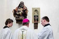 The Hradec Kralove bishopric deposit the late Pope John Paul II's relics during the Missa Chrismatis Mass in the local Holy Spirit Cathedral in Hradec...