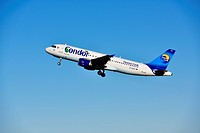 Thomas Cook, Condor, Airbus A320, take off, Munich Airport, Bavaria, Germany