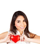 Image of cute brunette female holding in hands red heart isolated on white background, closeup portrait of healthy girl, health care, medical treatmen...
