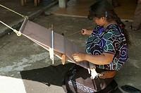 Tzotzil Maya Woman Weaving At Her Loom, Zinacantan, Chiapas, Mexico