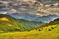 Collado de Llesba with Central and Eastern Massifs in Background. Picos de Europa National Park. Cantabria. Spain.