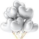 White balloons heart shaped
