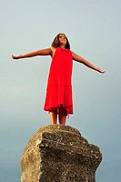 Girl on pillar column