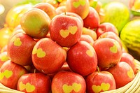 Apples with carved hearts