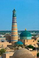 Minaret in ancient city of Khiva, Uzbekistan