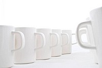 Line of white cups