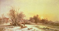 Winter scene: Collecting wood on a river bank, Williams, George Augustus (1814-1901) / Private Collection / Bridgeman Images