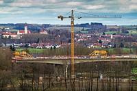 construction of a motorway bridge, A94 motorway, Germany, Bavaria, Isental