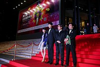 (150419) -- BEIJING, April 19, 2015 () -- Director Sion Sono (2nd R), leading actor Hiroki Hasegawa (2nd L) and actress Izumi Kido (1st L) attend the ...