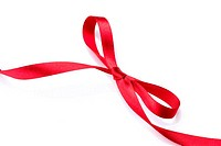 Red satin gift bow. Red silk ribbon