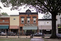Downtown Canton,Mississippi business district, thriving small town with shops.