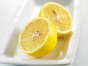 lemon on the white plate