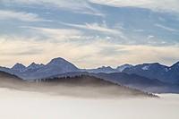 Overlooking the mist-covered Isarwinkel
