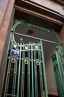 Art Nouveau iron gate in U Prasne Brany Street, behind Obecni Dum, Prague, Czech Republic.