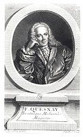 Portrait of Francois Quesnay (1694-1774) engraved by Johan Georg Wille (1715-1808) (engraving) (b/w photo), Chevallier, J. (18th century) (after) / Bi...